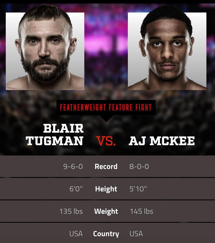 "Excited for this #fight at #Bellator182 between Blair ""The Bullshark"" Tugman @blair_tugman and AJ ""Mercenary"" Mckee @ajmckee101   Mercenary McKee is defending an impressive 13-win streak. Does Bullshark stand a chance?!   Don't miss this and all the fights on the Bellator 182 card airing today at 09:00 PM ET  #Bellator #BellatorMMA #KoreshkovvsNjokuani #NjokuanivsKoreshkov #MMA #MixedMartialArts #MLMMA #MustLoveMMA #SusanCingari #MartialArts #CombatSports #Combat #Boxing #Kickboxing #BJJ…"