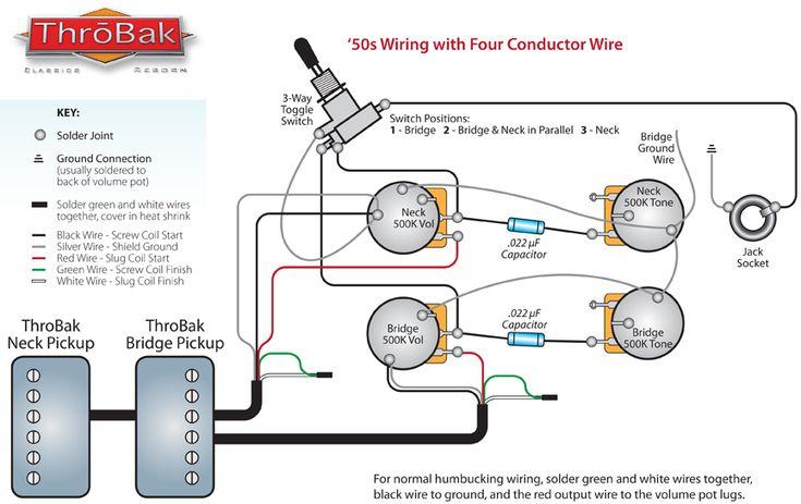 ThroBak 4 Conductor 50's Style Humbucker Guitar Pickup Wiring