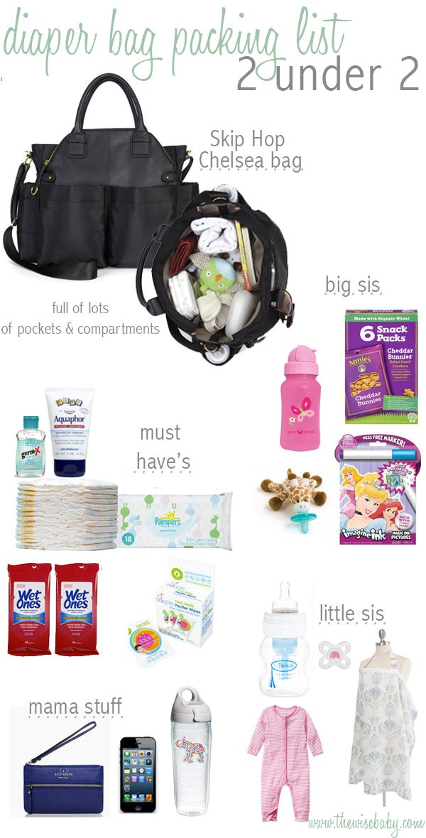 Diaper Bag for 2. Obviously Addy doesn't need some of the items. But good ideas