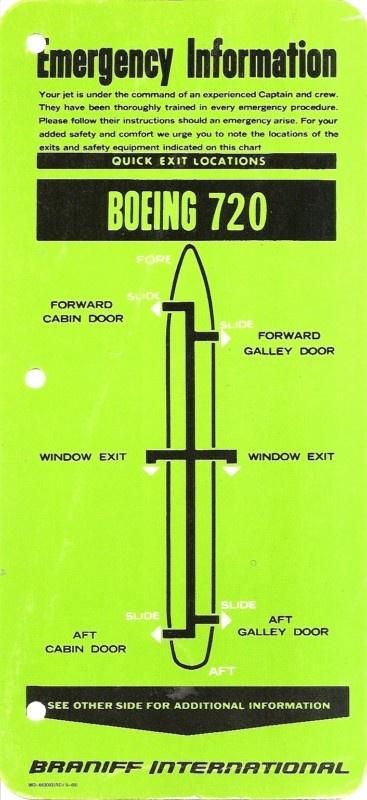 Braniff Boeing 720 safety card