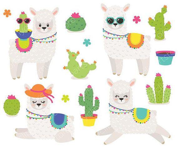 35+ Cute Cactus Llama Clipart Png Fiesta