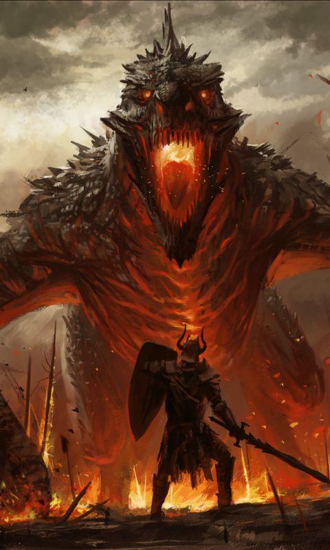 Dragon and warrior, fantasy, art, 480x800 wallpaper