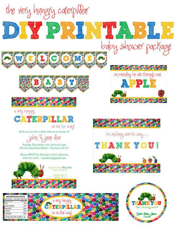 17 best images about very hungry caterpillar on pinterest | baby, Baby shower invitations