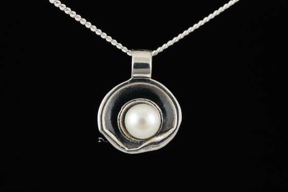 Médaillon pendentif argent sterlingperle eau