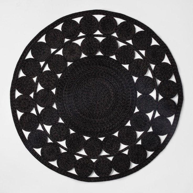 6 Ornate Woven Round Outdoor Rug Black, Round Outdoor Rugs Target Australia
