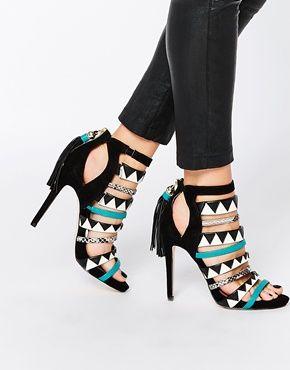tallons noir,blanc,turquoise et des bande peaux de crocodile. Chaussures  FemmeBottesSandalesTendanceSandales
