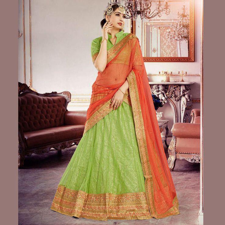 New Indian Bollywood Ethnic Ghagra Choli Wedding Bridal Wear Lehenga Blouse Set #Handmade #Lehenga