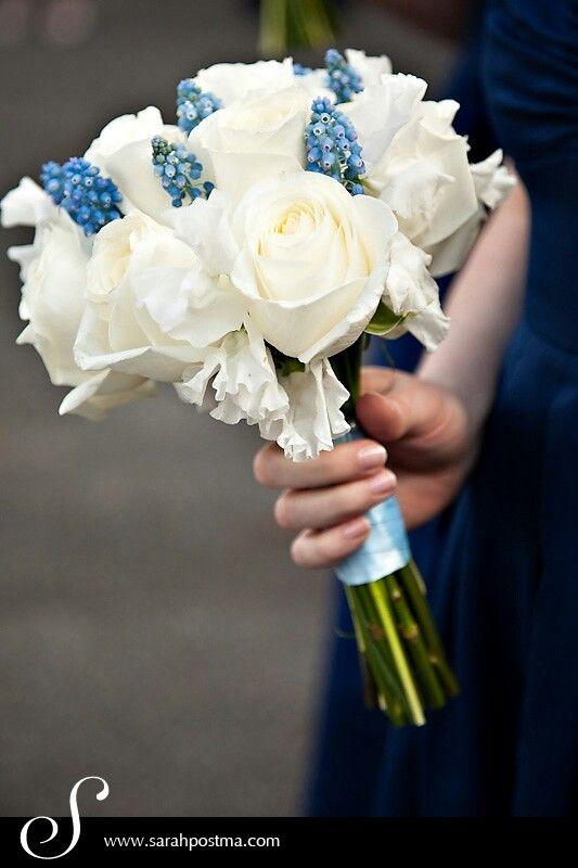 Bridesmaid's Flowers Of White Roses, White Sweet Pea, & Blue Grape Muscari Hyacinth