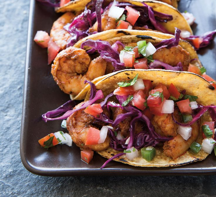 Shrimp cooks very quickly, making these tacos a great choice for a quick and colorful weekday meal. Serve them with a purchased pico de gallo or your favorite salsa. Or, to make your own easy pico ...