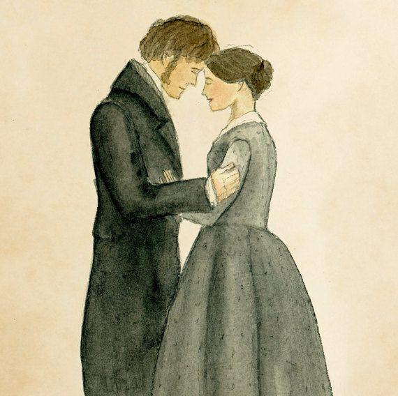 Jane Eyre et Mr.Rochester impression d'art.  5 x par mashalaurence