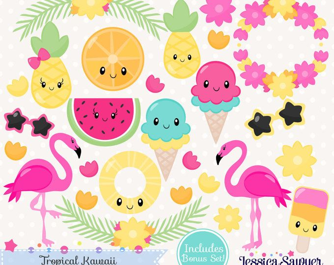 3 For 2 Watercolor Summer Clipart Tropical Clipart Beach Clip Art Flamingo Clipart Pineapple Clipart Vacation Food Fruit Ice Cream Kawaii Clipart Summer Clipart Clip Art