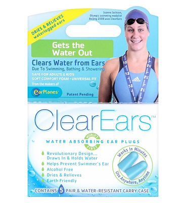 ClearEars Water Absorbing Ear Plugs - 5 Pairs 20 Advantage card points. FREE Delivery on orders over 45 GBP. http://www.MightGet.com/february-2017-1/clearears-water-absorbing-ear-plugs--5-pairs.asp
