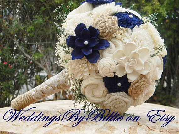 Fall Bouquets, Burlap Lace, Navy Blue Sola Bouquet, Blue Bouquet, Wedding Flowers, Rustic Shabby Chic, Bridal Accessories, Keepsake Bouquet