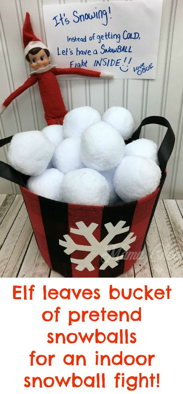 Elf leaves bucket of pretend snowballs for an indoor snowball fight! https://www.mamacheaps.com/elf-on-the-shelf-ideas HUNDREDS of elf ideas here: