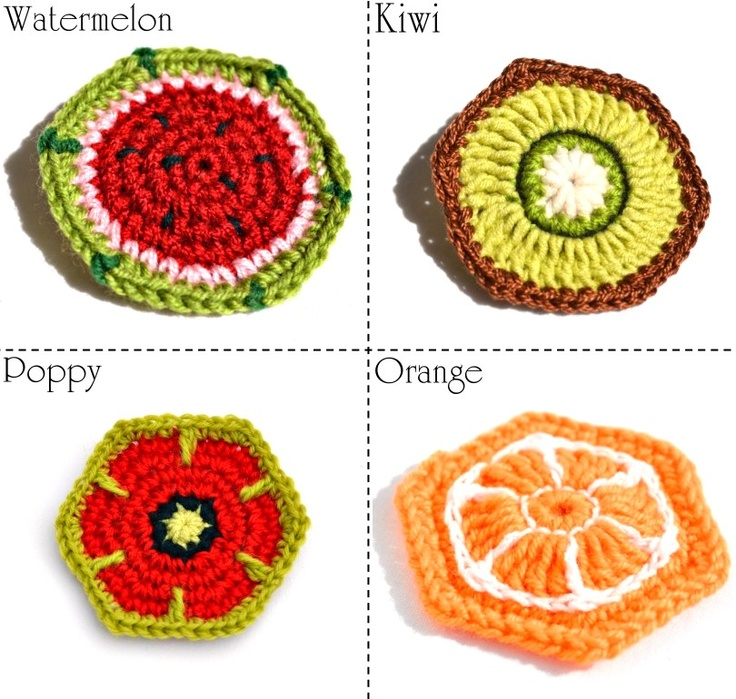 Orange Motif (pattern) and other fruity hexagons.