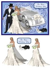 Wedding day card with 3D bride and vintage car on Craftsuprint - View Now!