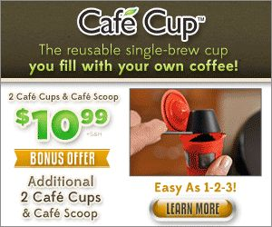 Start saving money today with the Cafe Cup. It is a reusable single coffee filter. The Cafe Cup is an As Seen On TV product helps you to save money when using the single cup coffee makers like the keurig.