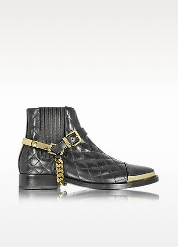 BALMAIN DIVA BLACK QUILTED LEATHER BOOT. #balmain #shoes #boots