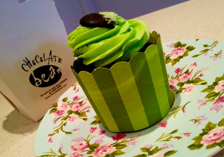 What's dinner without dessert...? YUMMY vegan choc-mint cupcake from Chocolate Bean #adelaide... #luvthisstuff