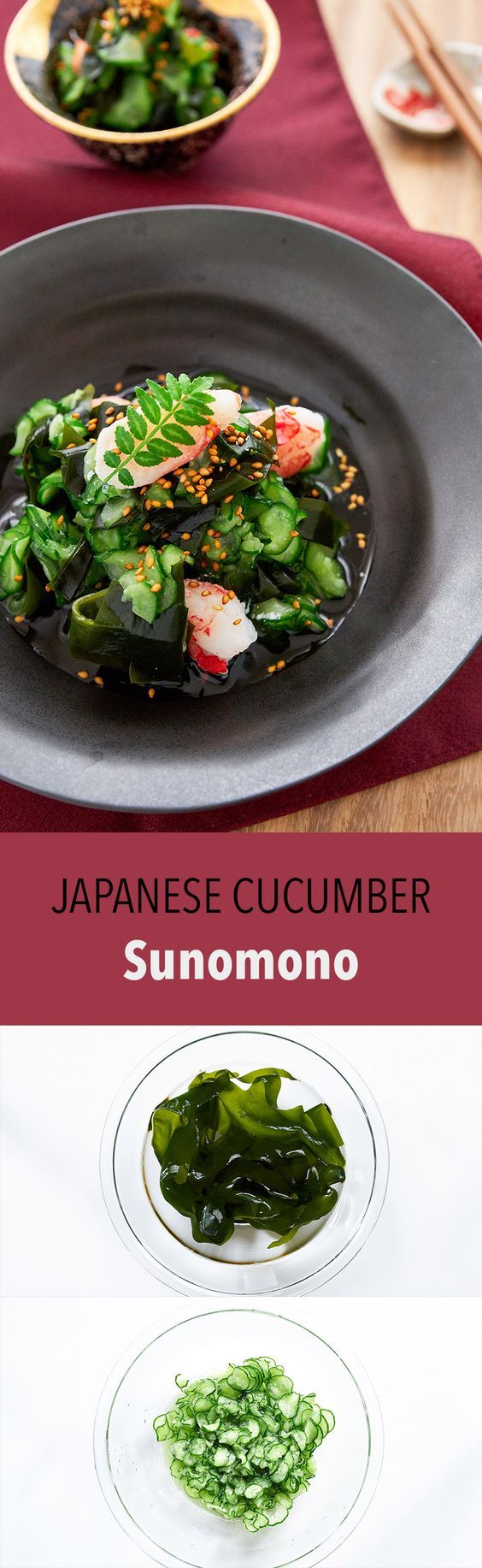 This easy sunomono (Japanese cucumber salad) uses just a handful of ingredients and comes together in minutes and yet it's crunchy texture and sweet and sour taste, make it the perfect side-dish for a Japanese meal.
