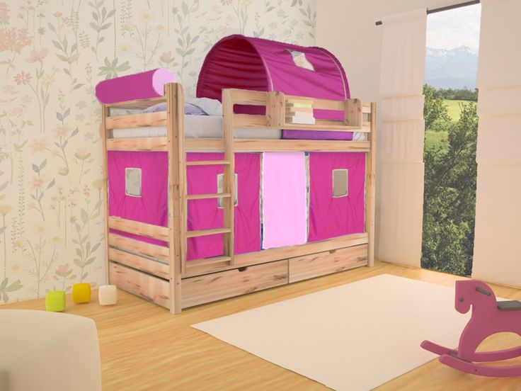 Beautiful and girly bunk bed for two children with playfull fabric.