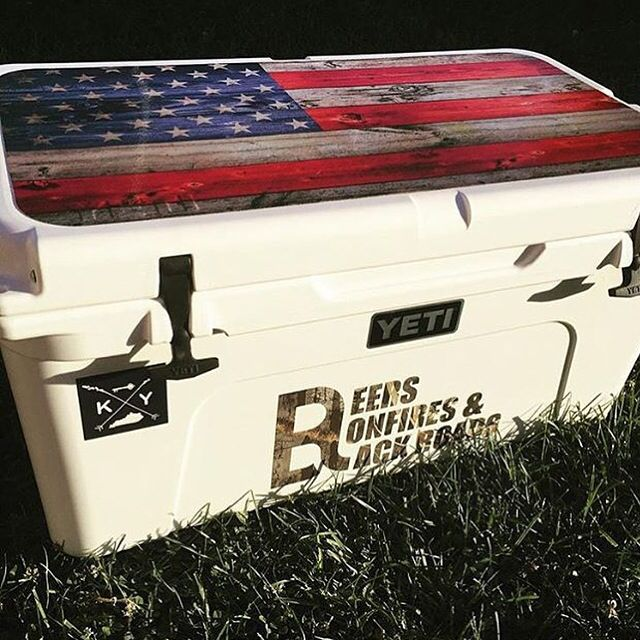USATUFF cooler graphics wrap decal sticker on a Yeti Cooler. #usa #troutfishing #largemouth #deepsea #america #ar15 #donttreadonme #outdoors #rzrcooler #coolergraphics #usatuffgraphics #usatuff #camping #fisherman #fishing #fish #hunter #hunting #coolers #cooler #icechest #yeticoolers #yeticooler #yeti
