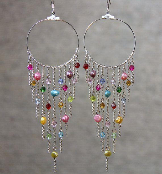 Hoop Earrings long chandelier loop tear drop by AniDesignsllc. What fun party earrings!