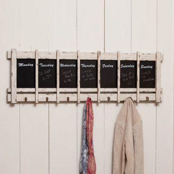 Days of the week chalkboard w/hooks  17 x 52 x 2.2