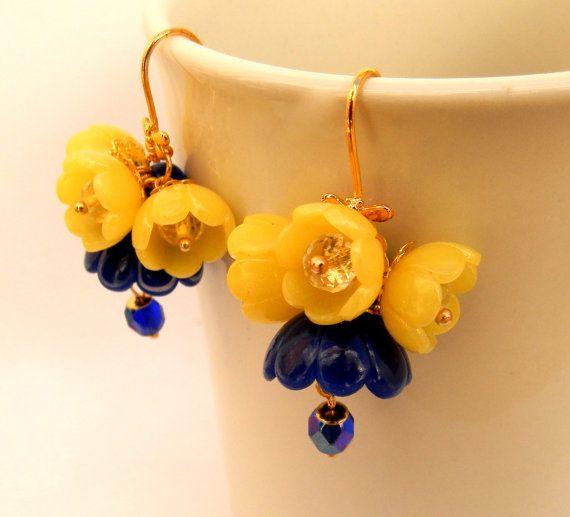 #Blue #yellow #earrings Flower earrings Dangle by insoujewelry