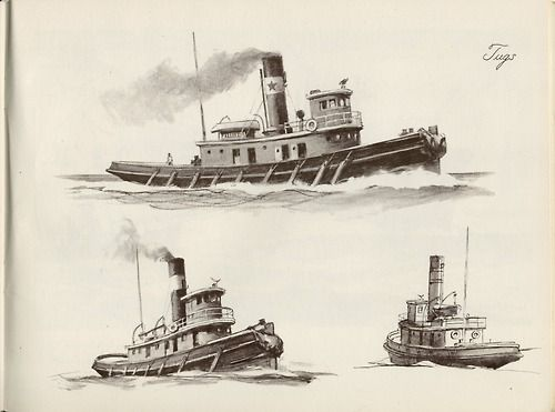 """ Tugs "" ….. Artist: W. J. Aylward … From: 'SHIPS and How to Draw Them', Published 1950 [Sailor Gil Collection]"