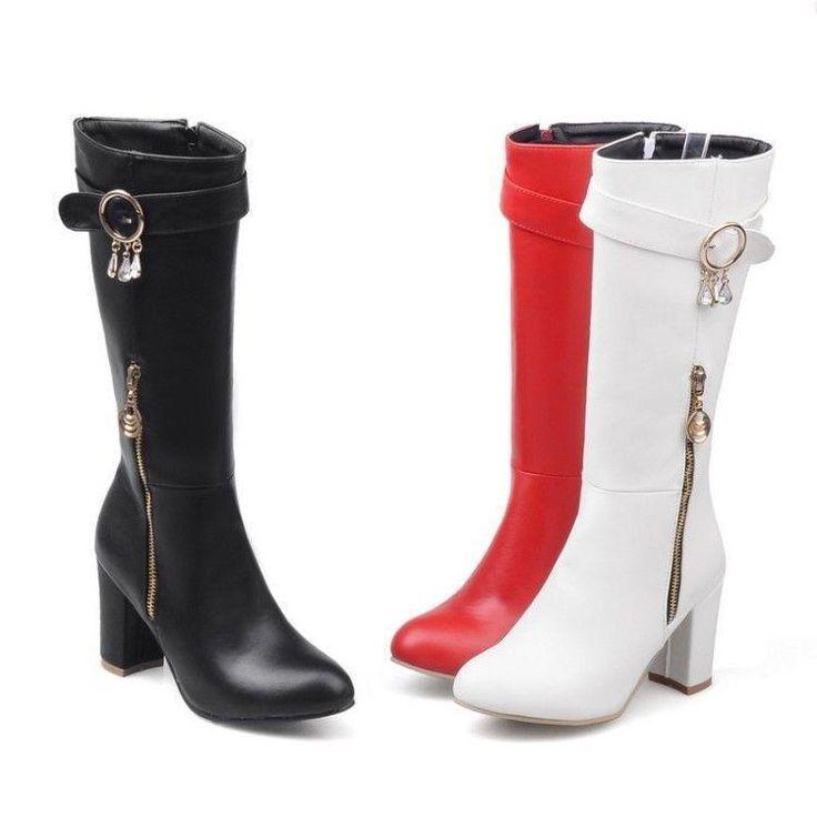 Ladies Leather High Chunky Heel Knee High Boots Side Zip Shoes Rhinestone 17