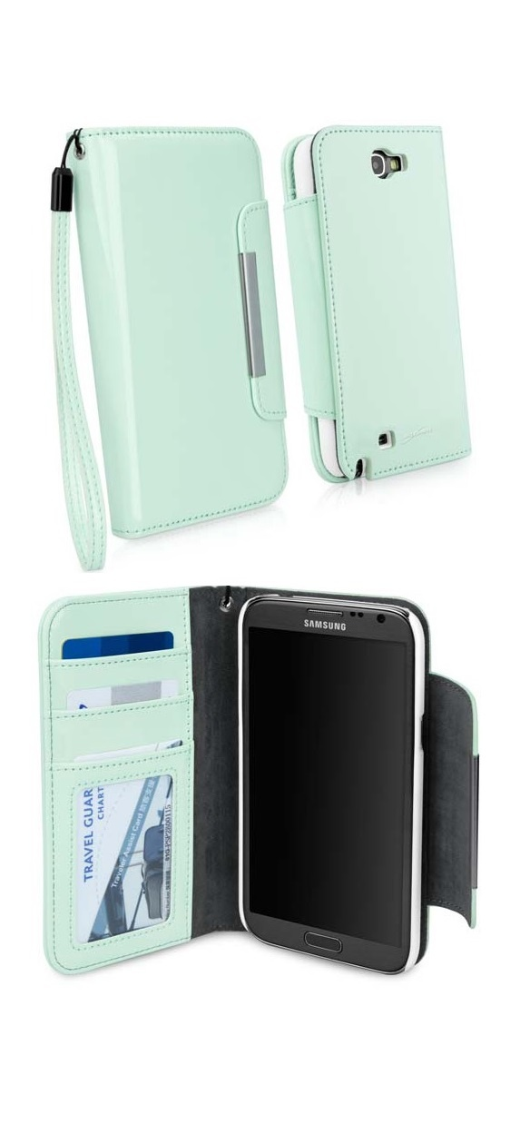 a delicate mint Patent Leather Clutch Wallet - Galaxy Note 2 Case @BoxWave