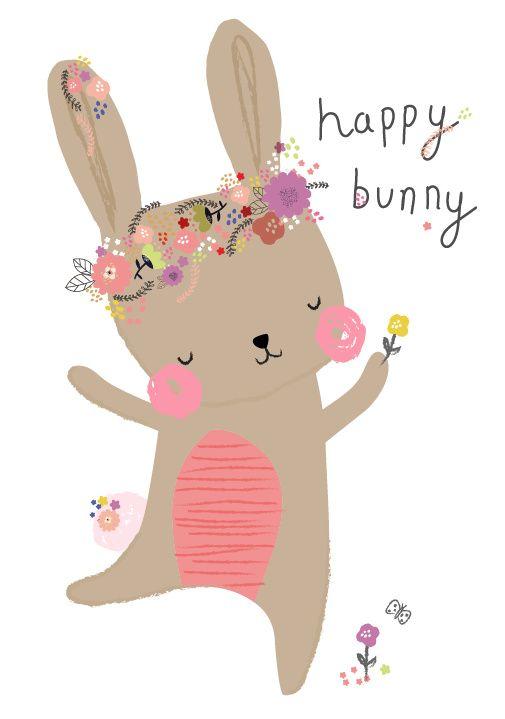 Aless Baylis 'Kaart Happy Bunny' www.petitelouise.nl