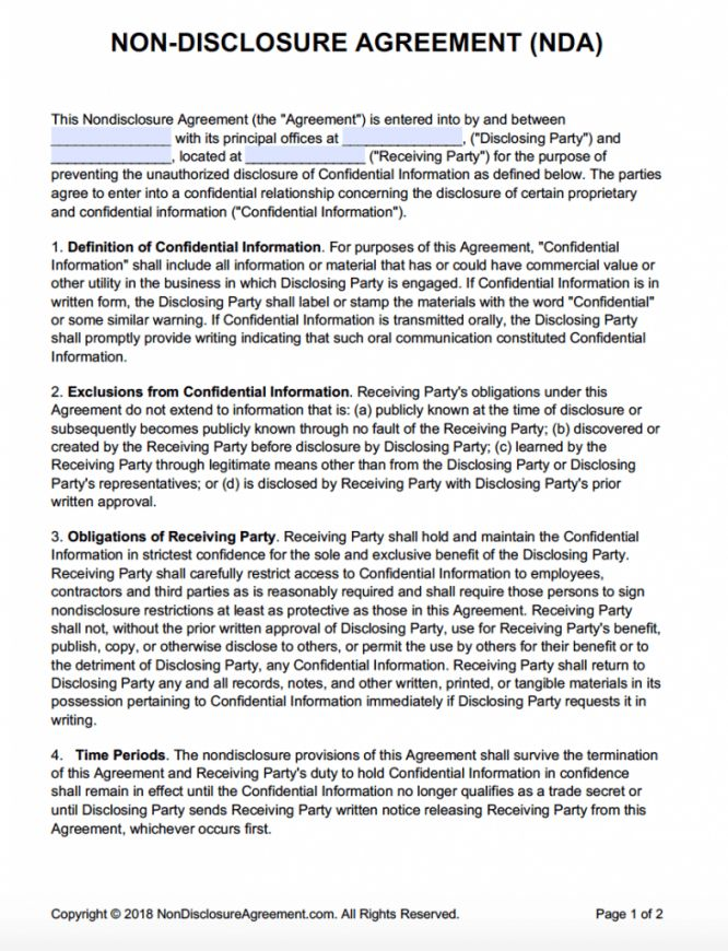 Browse Our Image Of One Way Non Disclosure Agreement Template For Free Statement Template Non Disclosure Agreement Financial Documents