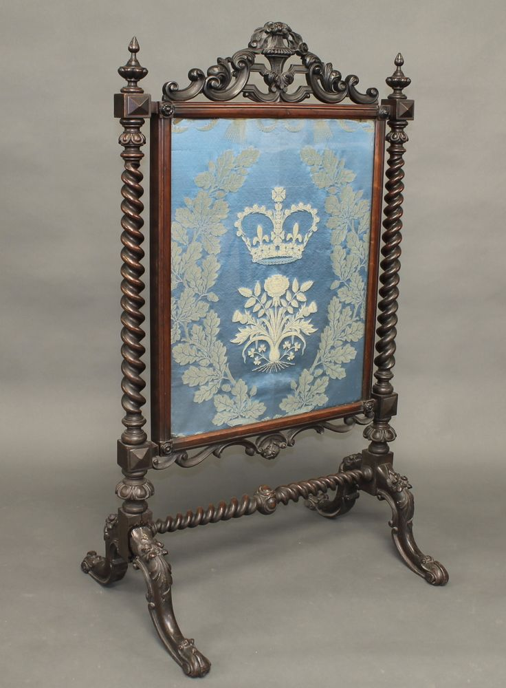 Victorian Fire Screens   Lot No 52 A Victorian rosewood fire screen with embroidered panel ...