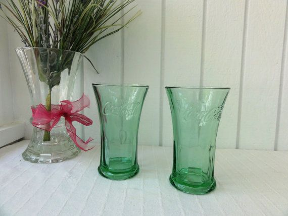 """Pair of Libbey Coca-Cola Fountain Glasses/Tumblers, 4 3/4"""" tall, Green, Coke Glasses Collectible by MeadowlarkNaturals on Etsy, $19.95"""