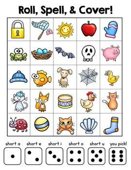 Roll, Spell, and Cover - students draw on their own phonemic awareness to find short vowel words, spell them and cover them in this fun game! This is just one of MANY activities and printables in this Common Core Language mega-bundle (250+ pages)
