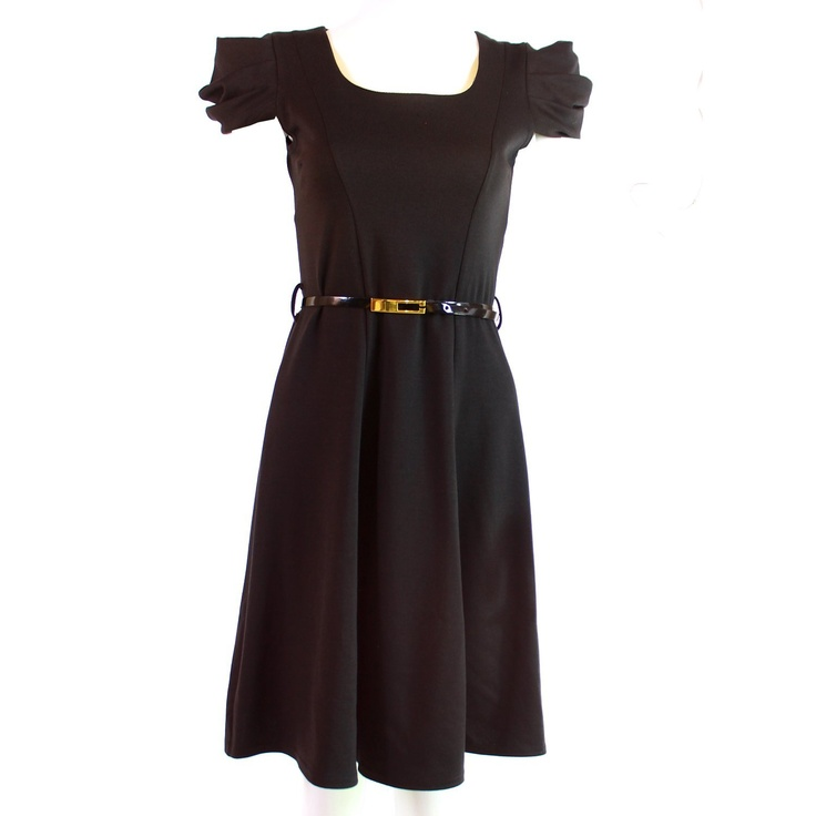 A wardrobe staple, this LBD is in a flattering fabric with a little stretch to give a form fitting look and a little flare to the skirt. Complete with skinny belt for £29.95