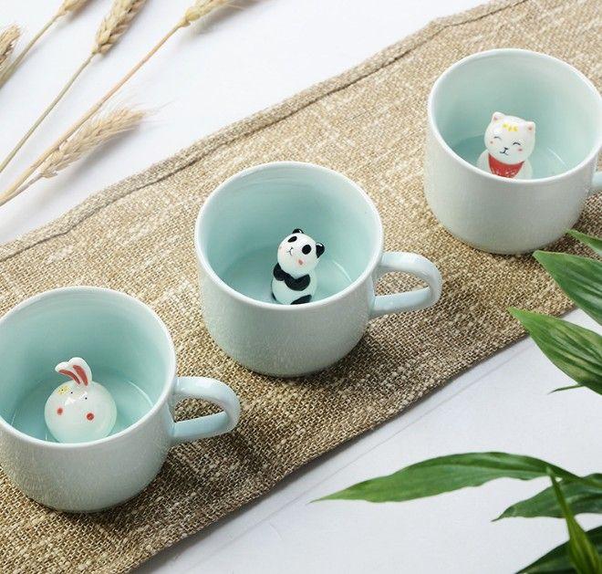 Новые Приходят Творческий Мультфильм Керамические Кружки Милые Животные Кофе Чай с Молоком Чашки 220 мл Новизна Подарки На День Рождения Кружки(China (Mainland))