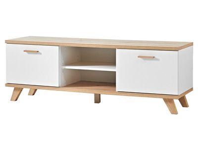 Meuble TV bas en bois piètement chêne 2 portes 2 niches L144cm OSLO