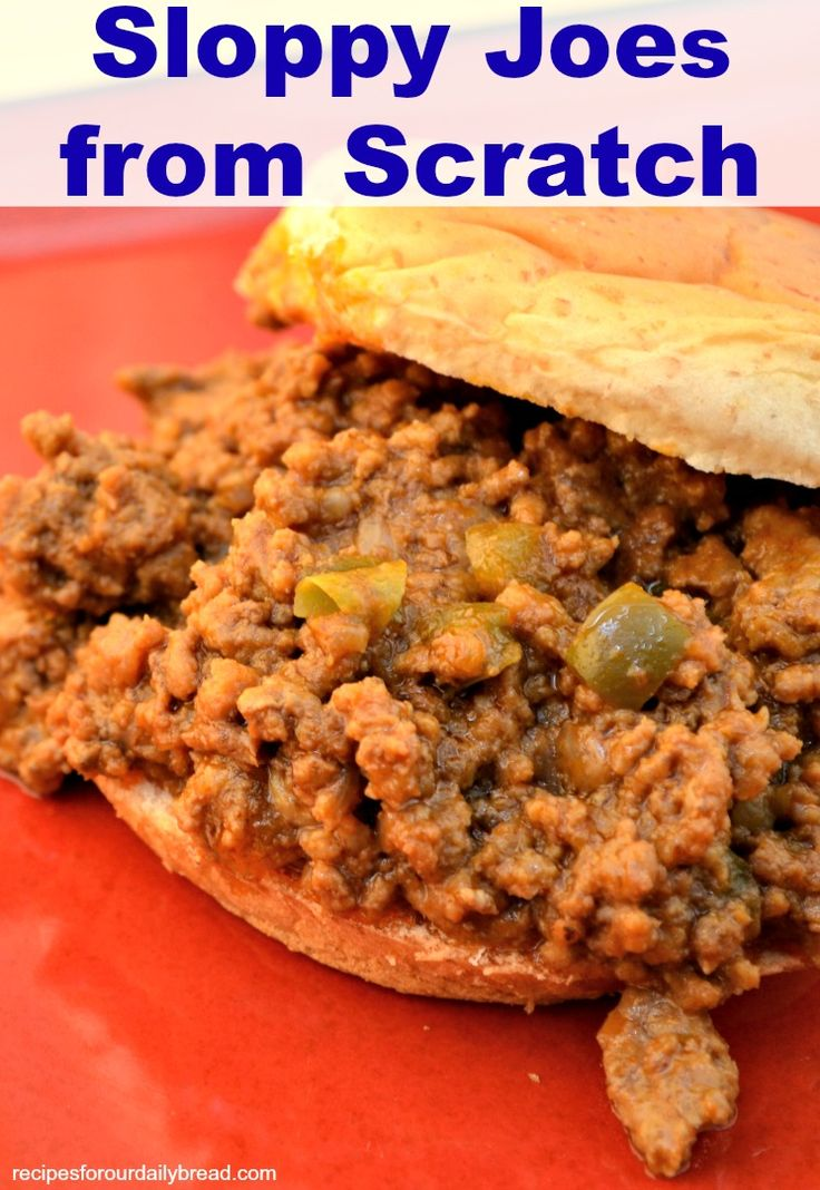 Sloppy Joes from scratch remind me of my childhood. This version is much better. The onion and bell pepper make it really fresh and tasty.
