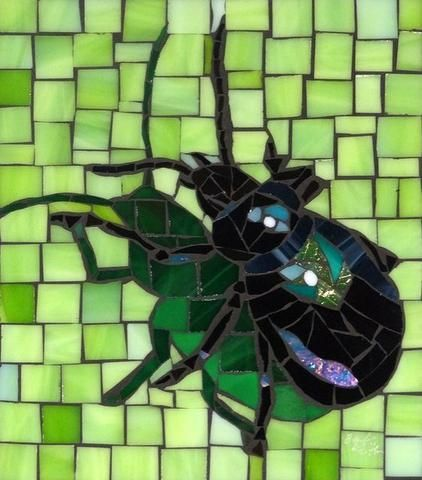 Example of creating a mosaic shadow, Bug by Barb Keith
