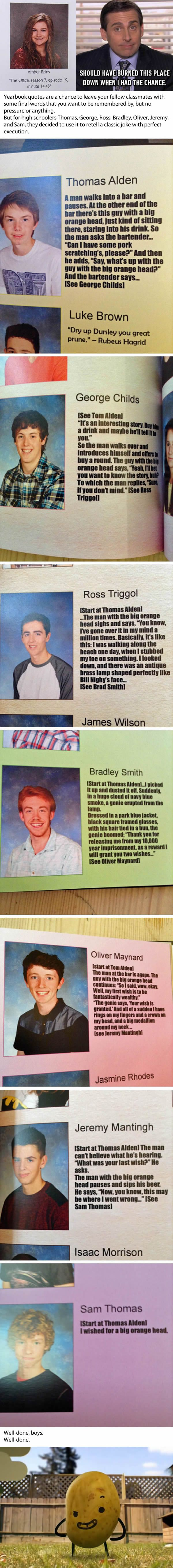 Friends Use Their High School Yearbook Quotes To Tell Epic Joke