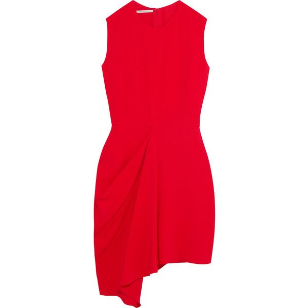 Stella McCartney Draped stretch-crepe mini dress (€865) ❤ liked on Polyvore featuring dresses, red, red mini dress, mini dress, short dresses, asymmetrical hem dress and stella mccartney