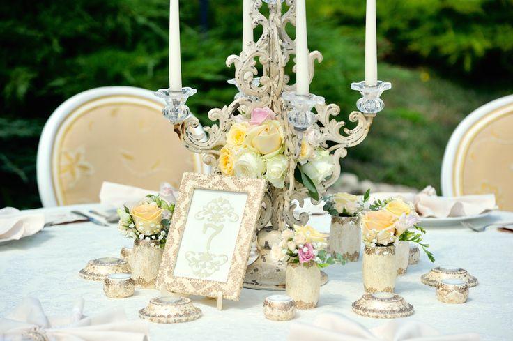 Victorian Glamour Wedding Decor - Gold & Ivory - Elegant, Antique, Vintage, Handpainted, Handmade -Table Setting, Candelabra - by Satori Art & Event Design