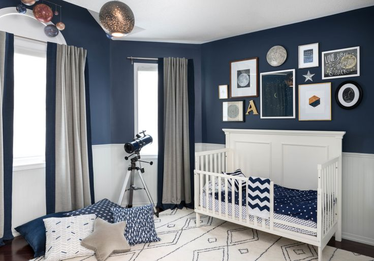 Modern Celestial Big Boy Room - love the bold navy wall colors and modern accents!