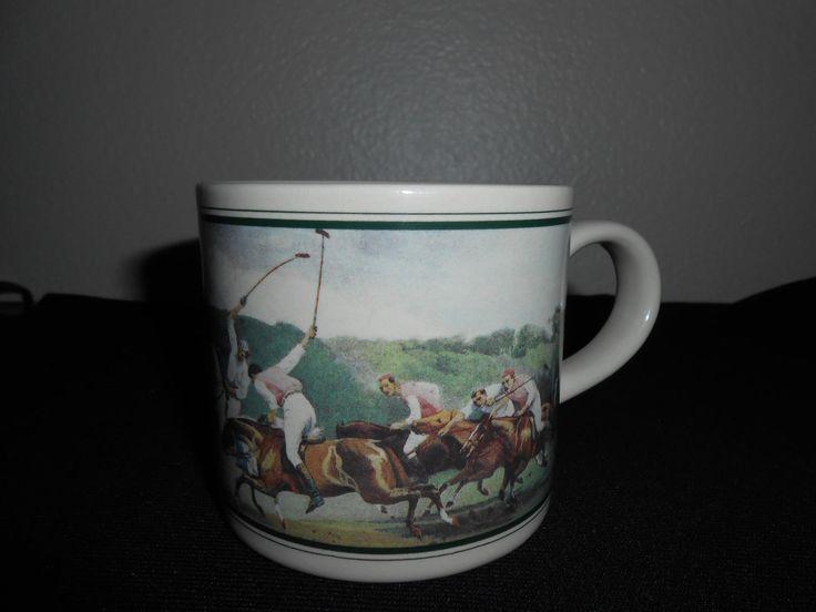 Vintage Ralph Lauren Polo Match Equestrian Horse Coffee Tea Cocoa Mug 12 Oz Nice