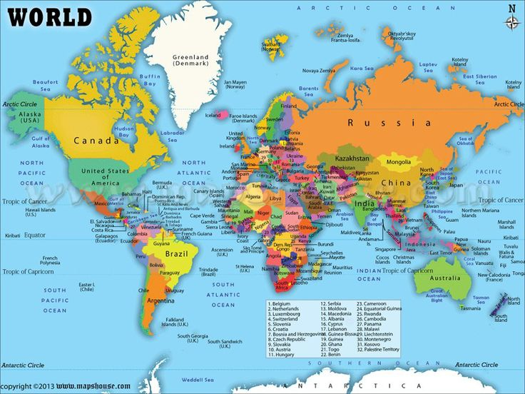 World Map with Countries Labeled   World map, World ...