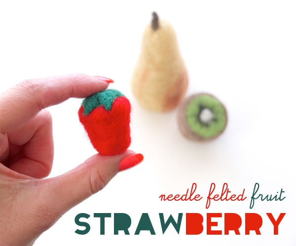 How To: Needle Felted Fruit - Strawberry ▽▼▽ My Poppet    -  This week you can add to your felt fruit collection with this cute little strawberry. It's very easy to make and a good place to start if you are new to needle felting.: Felt Strawberries, Crafts Ideas, Diy Crafts, Felt Crafts, Felt Creatures, Crafts Projects, Kids Crafts, Felt Tutorials, Felt Fruit