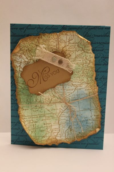 World Map - Stamps - World Map, En Francais, Lacy & Lovely Ink - Island Indigo, Garden Green, Baked Brown Sugar C/S - Very Vanilla, Island Indigo, Baked Brown Sugar Accessories - Natural Trim, Neutrals Candy Dots, Twine, Stampin' Sponges, Decorate Lavel Punch, Dimensionals